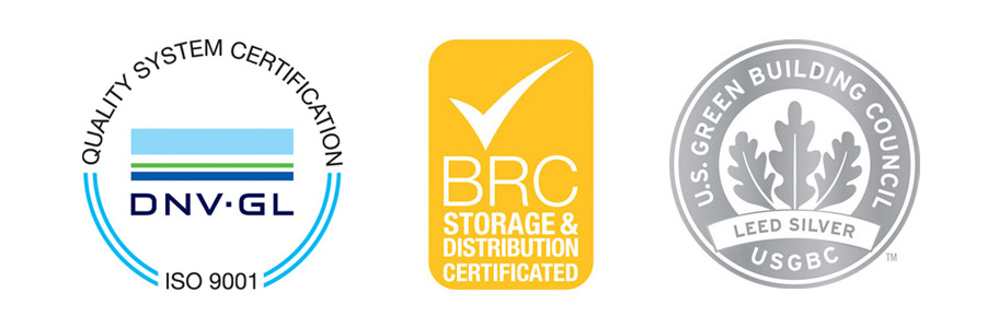 U.S. Green Building Council / Leed Silver - BRC Storage & Distribution Certificated - ISO 9001 SGS